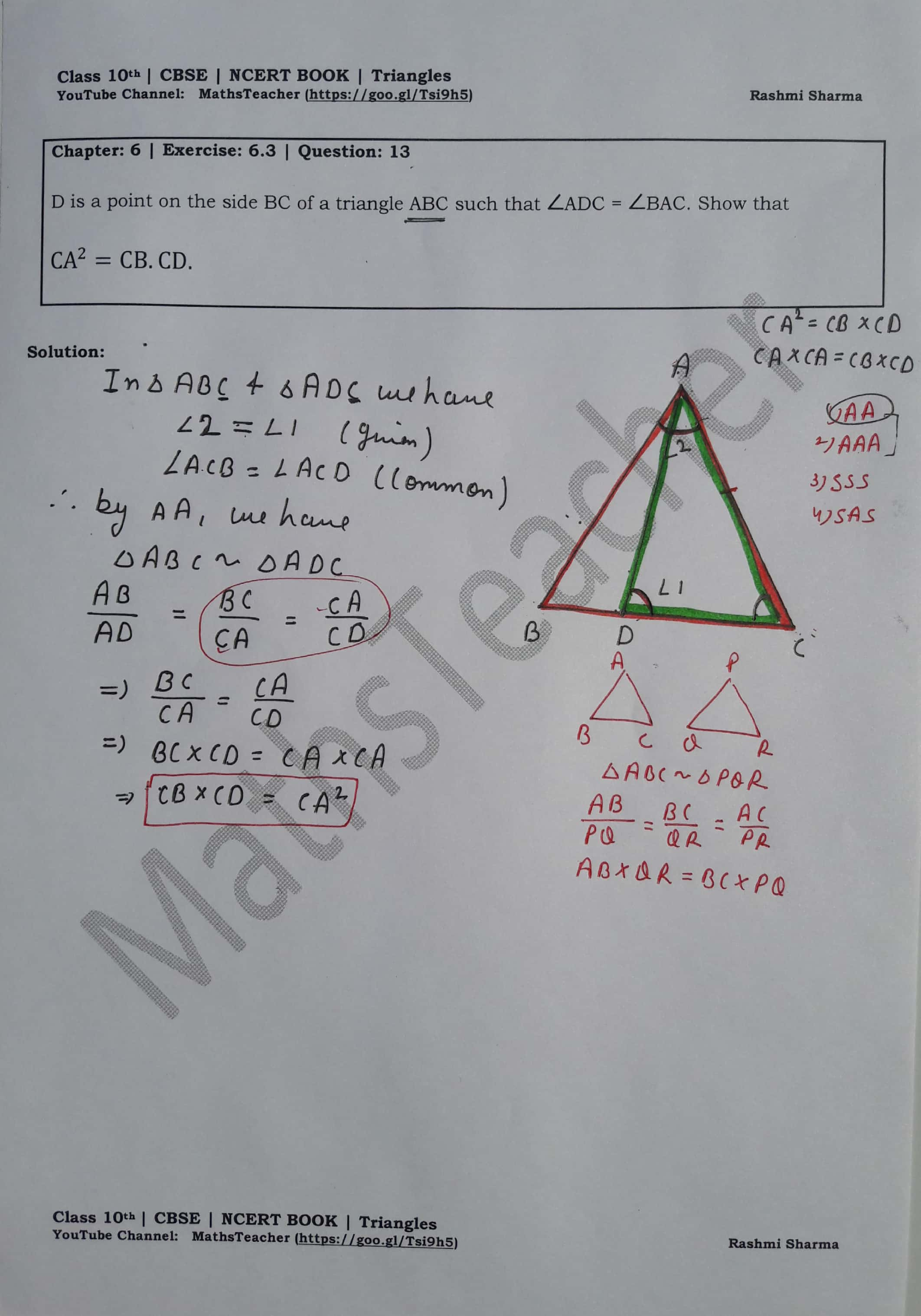 Triangles : Exercise – 6.3 question 13 (Mathematics NCERT Class 10th ...