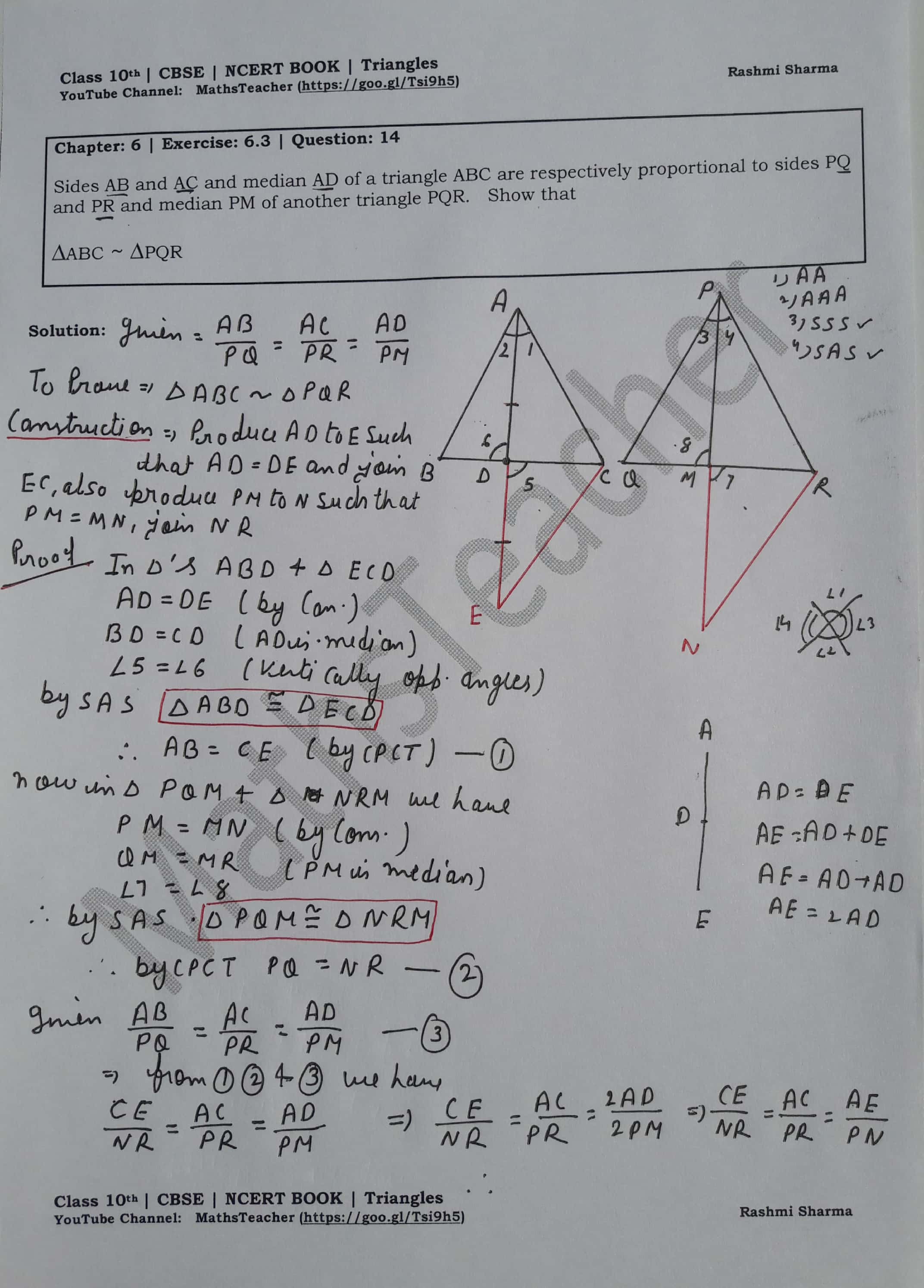 Triangles : Exercise – 6 3 question 14 (Mathematics NCERT
