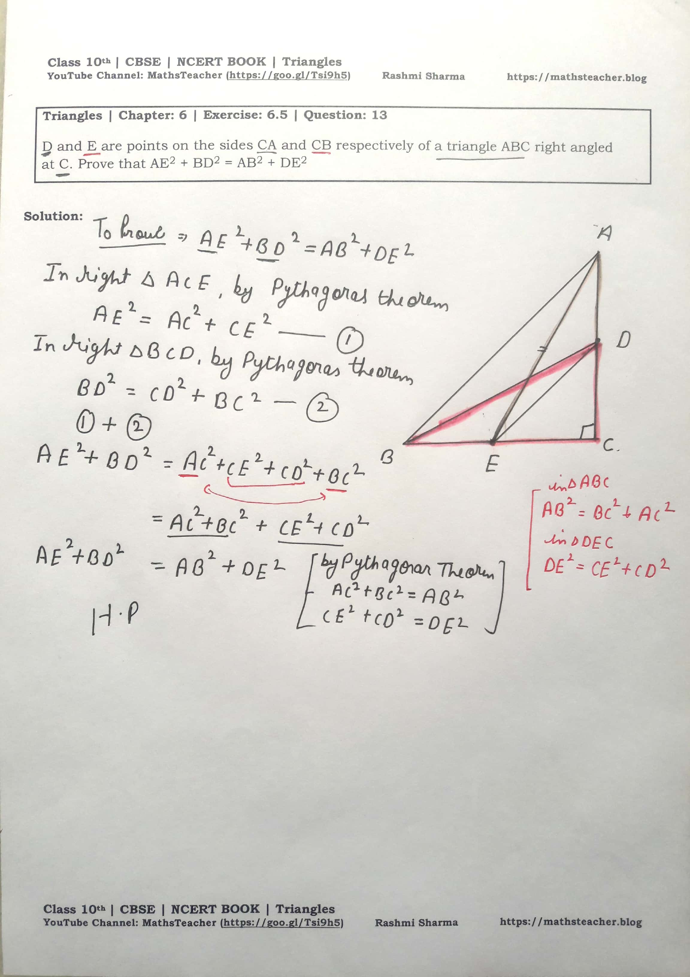 NCERT Solutions Class 10 Maths - Triangles   Chapter 6 Exercise ...